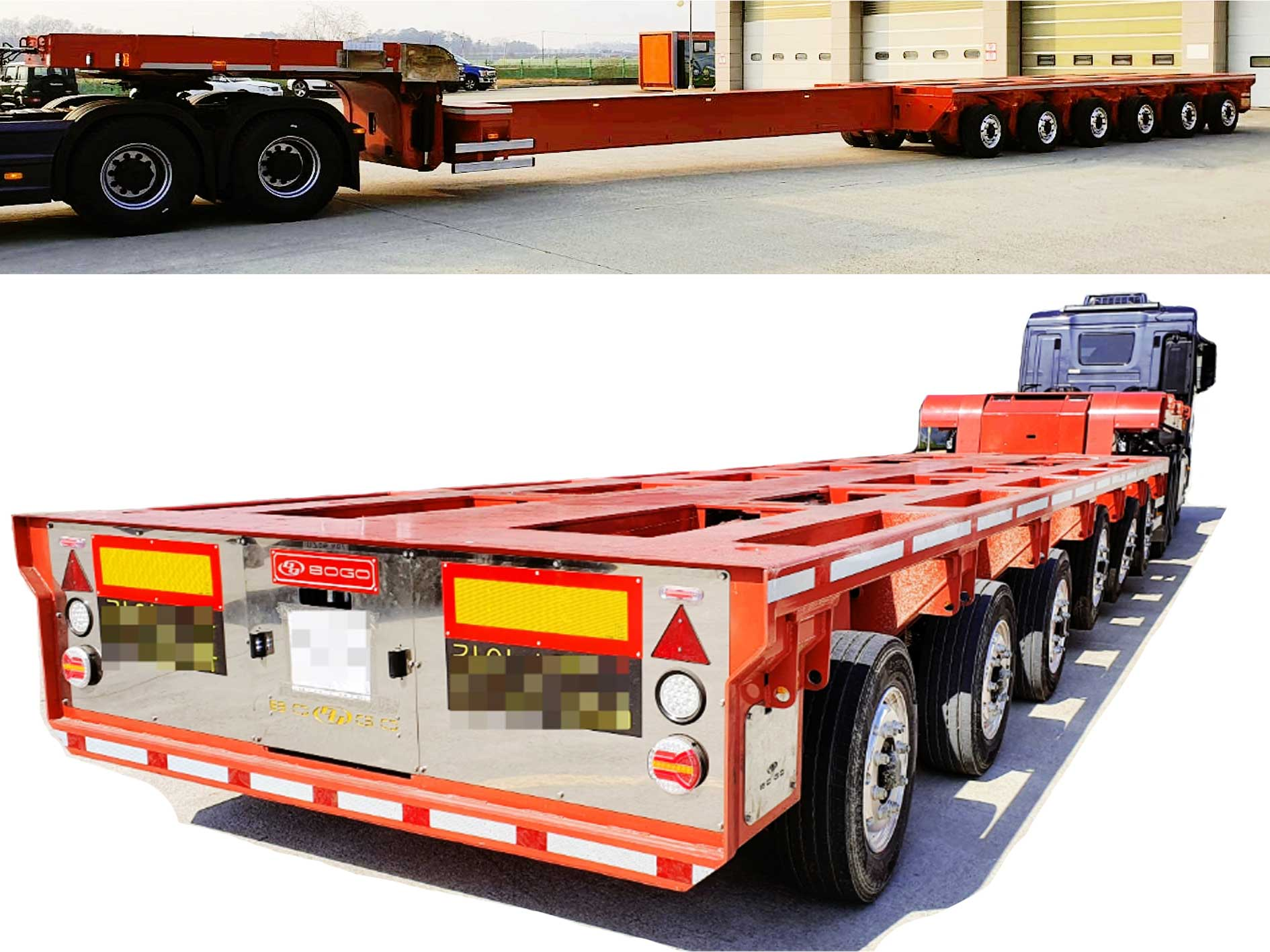 6 Axles Extendable Sliding 7.5M Hydraulic Lowbed Module Trailer