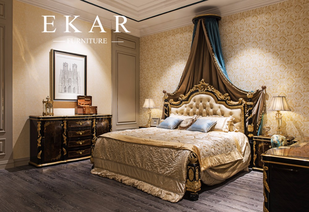 Luxury Bedroom Leather Baroque European Style Bed