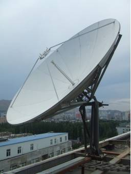TDT 3.7m Ku-band satellite communication receiving dish antenna with 2-port feed