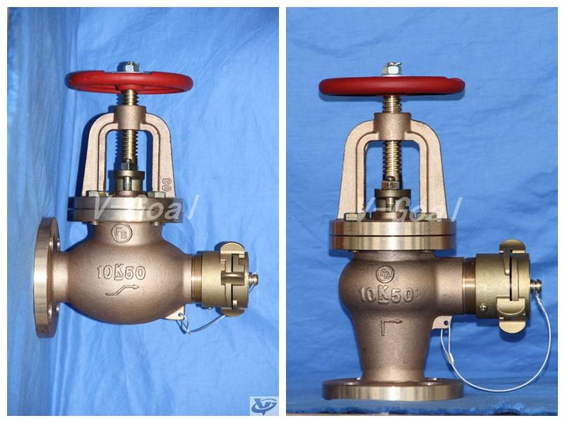 JIS Marine valve Bronze Globe Fire Hose valve 5K 10K