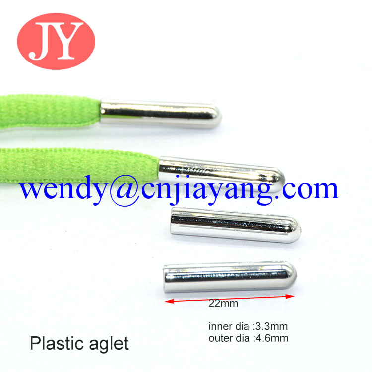 Shiny silver plastic aglet for sport shoes