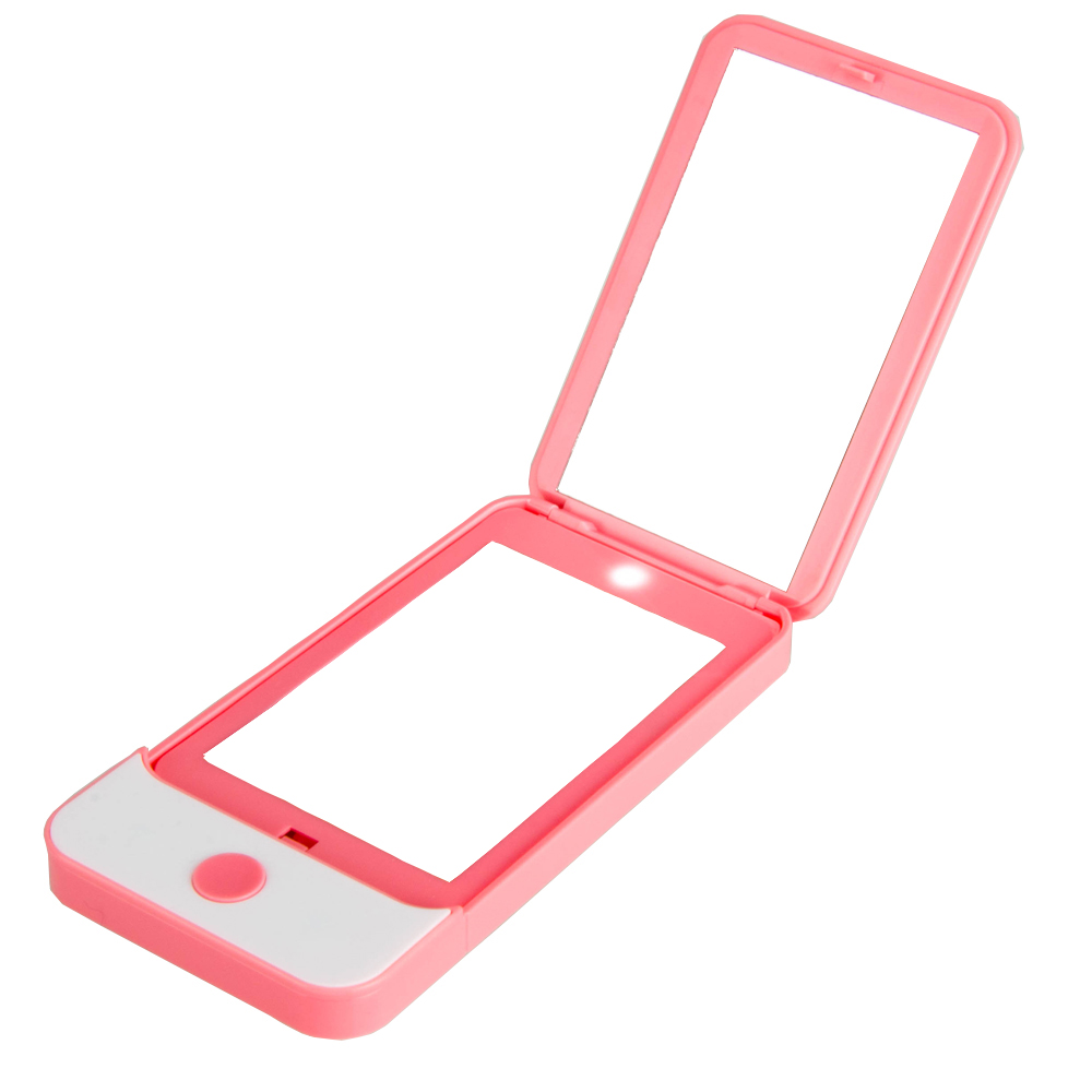 Folding Lighted Makeup Mirror, Plane Mirror and 2X Magnifier Double Sided iPhone4 Shape Mini