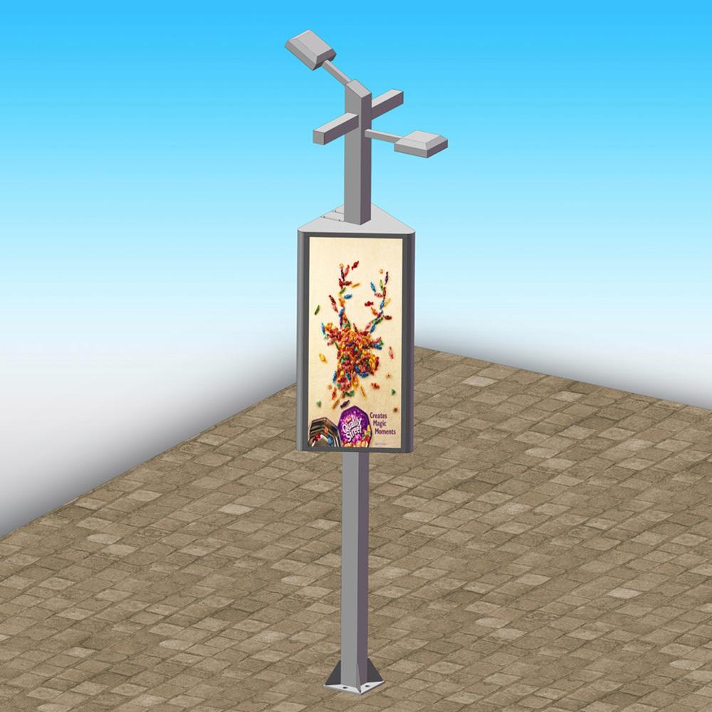 City LED modern lamp post advertising light box