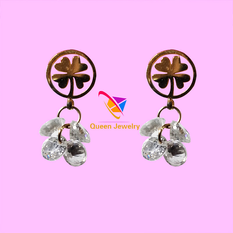 earring new design 2018 Women's popular jewelry white zircon 18 k gold plated clover shaped earrings