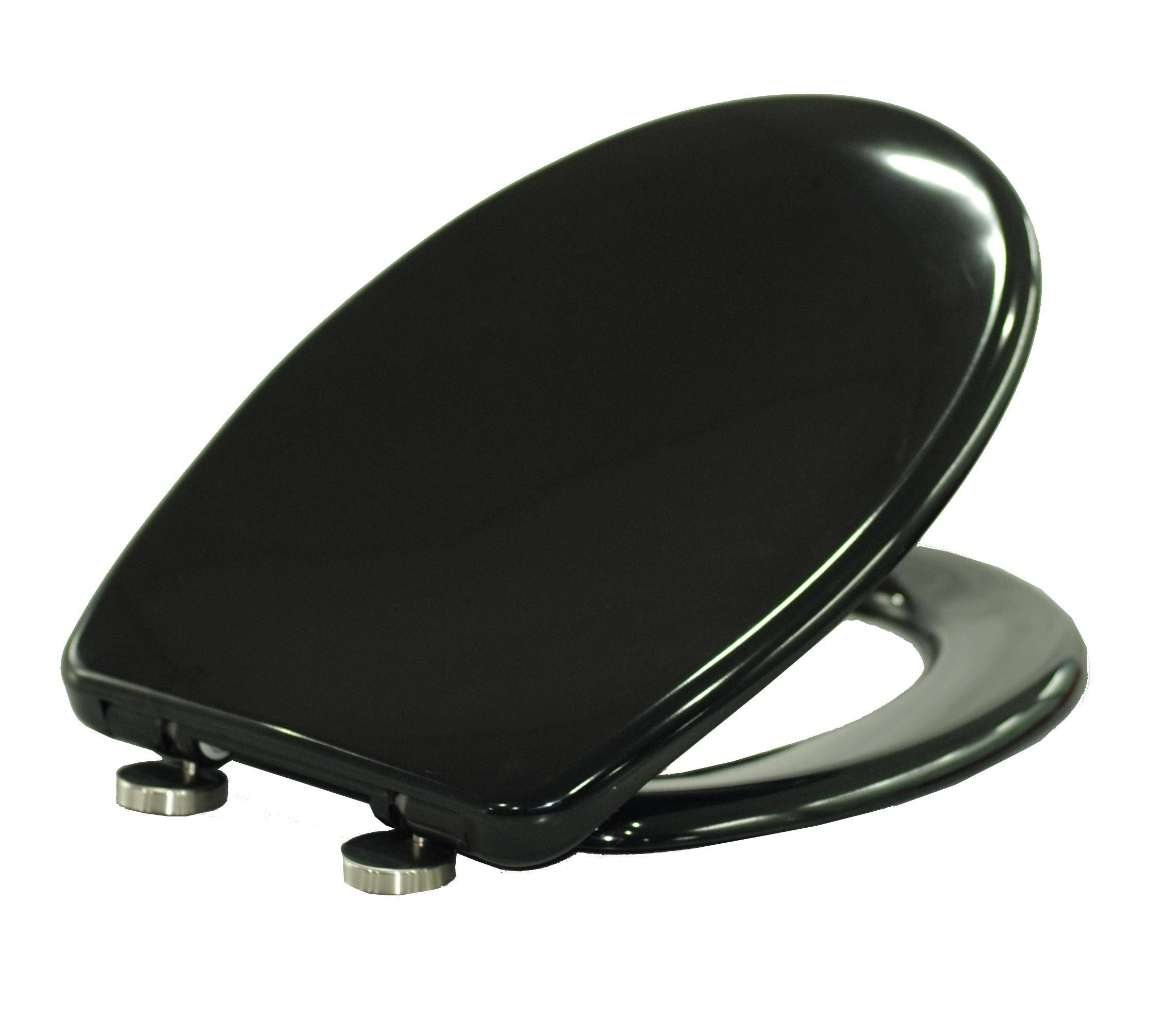 Soft close and Quick Release Toilet Seat Cover in black color design for bathroom