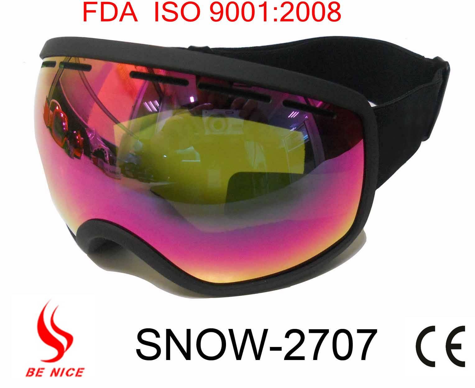 2013 Best seller fashion custom ski goggles, goggles ski with anti-fog uv protection