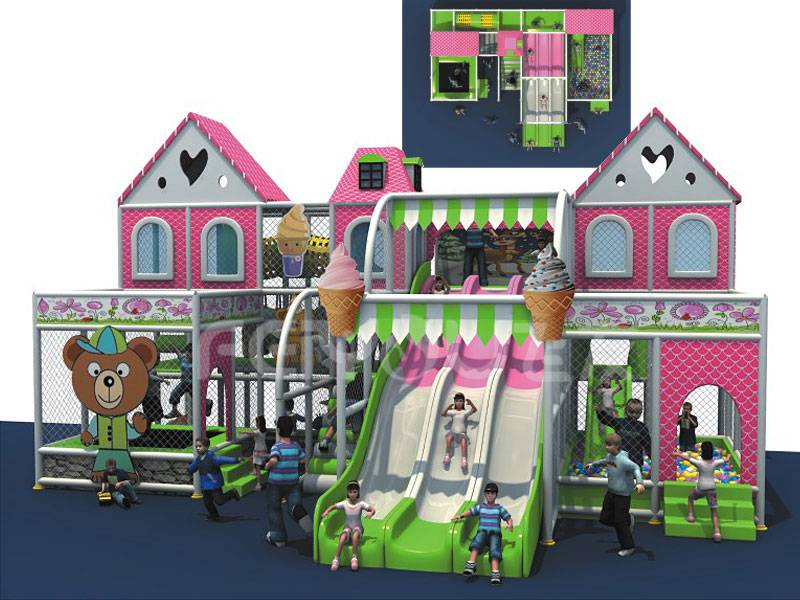 2015 top selling pink theme park amusement kids naughty castle
