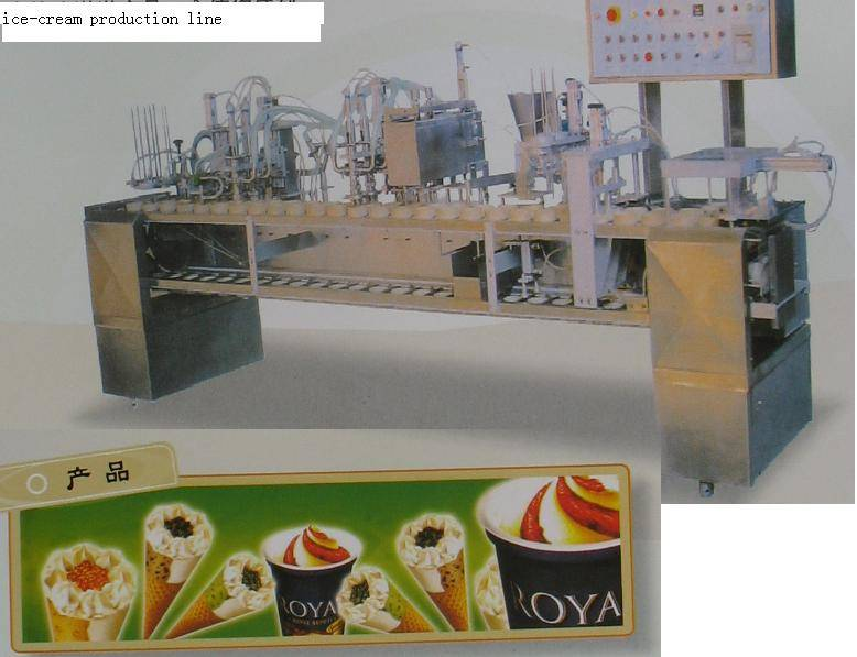 iIce cream lolly cone freezing tunnel filling packing machine