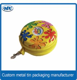 Yellow round coin bank with zipper