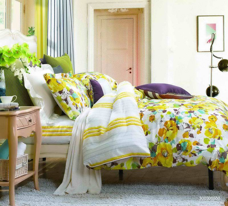 Fuanna Faint Fragrance 3 Pieces Set Cotton Printed King Duvet Cover and Pillow Shams Yellow
