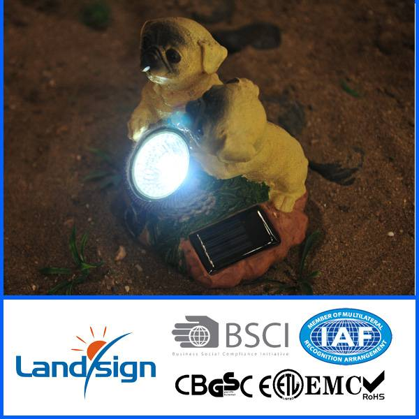 2016 new arrival solar garden decoration lights XLTD-1545 solar accent spot light with 2 yellow dogs