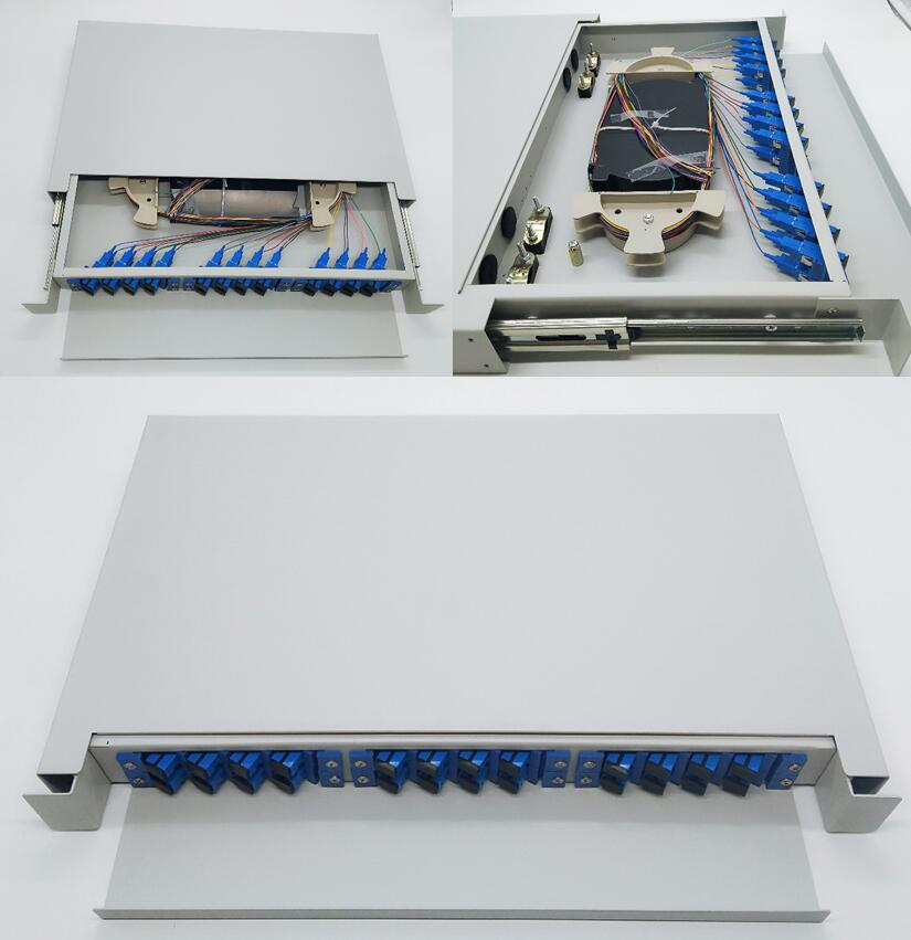 12/24/24/96/144 cores fiber optic ODF terminal box /ftth box with sc/upc pigtail and adapters.