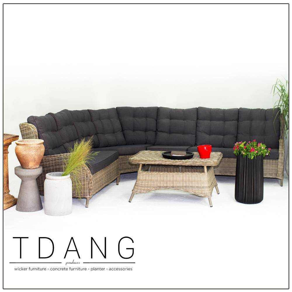 Hanna 5 Pieces Seating Group with Black Cushions - TD1004
