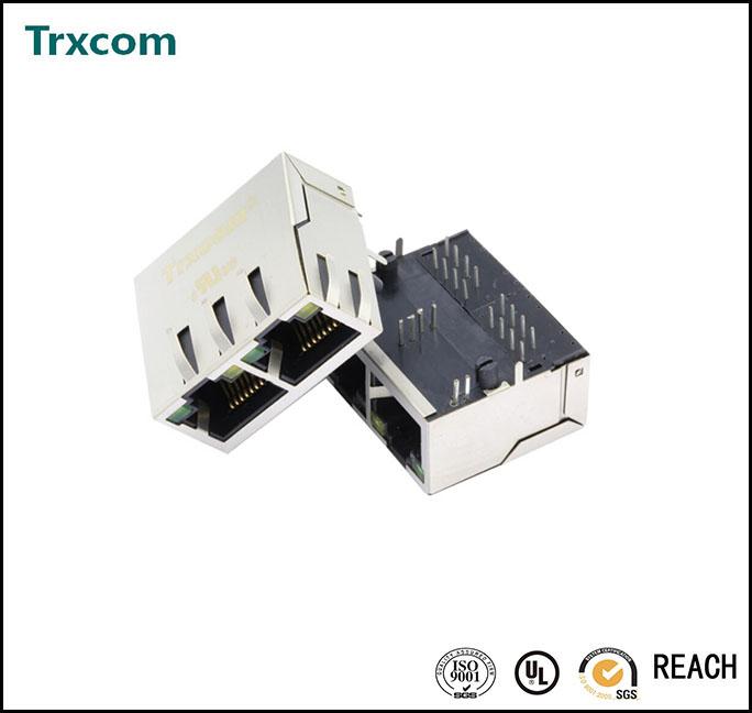 1X2 RJ45 Ethernet Connector TRJG26801AENL