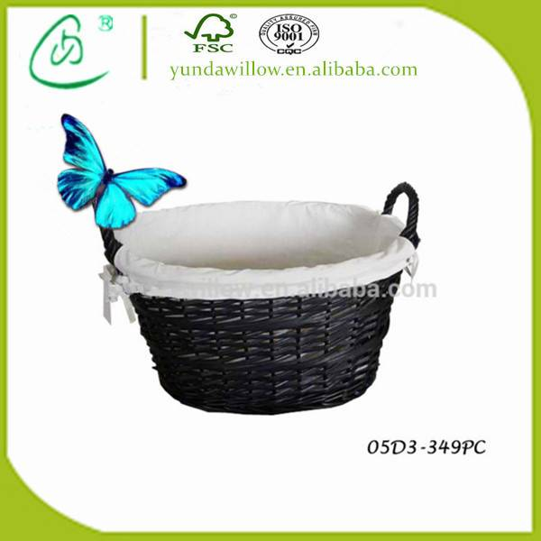 Black Laundry Clothing Hamper Baskets with Handle for Home Round
