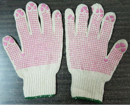 Clearance Sale Stock 2nd Grade 800gr Raw White Glove with Dots Pink 9inch Super Cheap