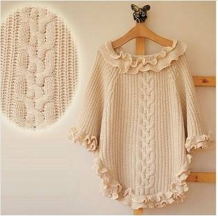 whole sale knit poncho,shawl made from acrylic , tippet for women ,  cable cappa, ruffle fashion cap