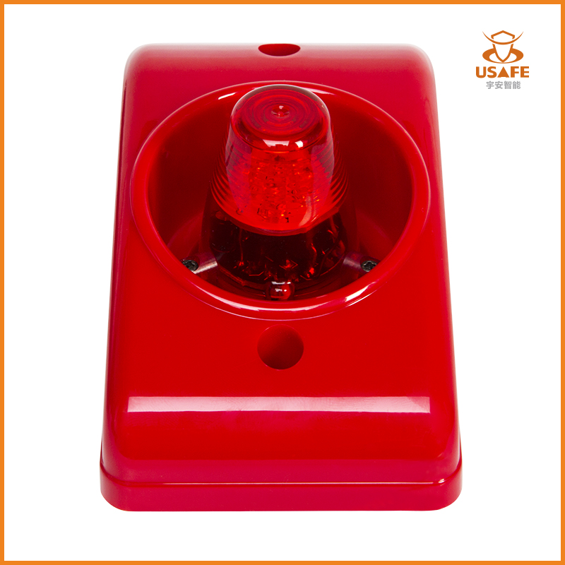 24V Fire Alarm Siren with Flashing Light, Red