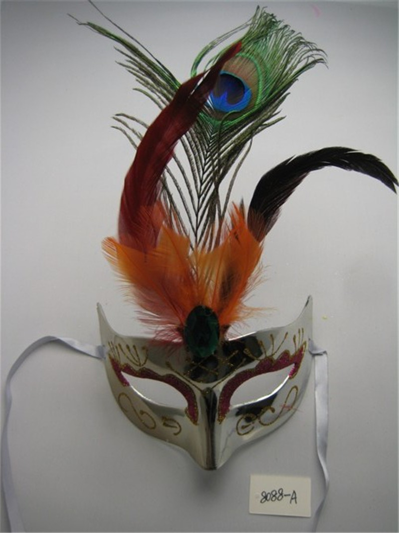 Halloween Venetian Masquerade Party Eye Mask with peacock feathers