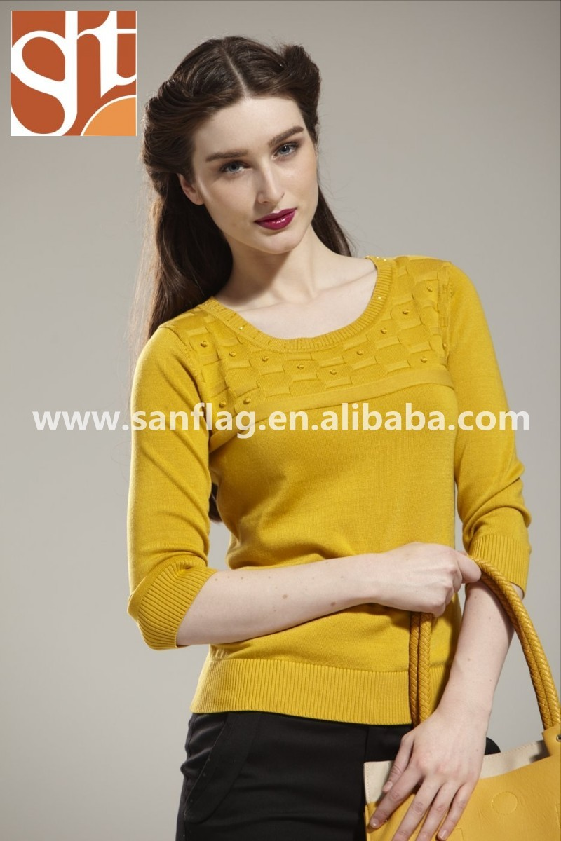 Ladies' crew neck 1/2 sleeve pullover jersey yellow knitted sweater