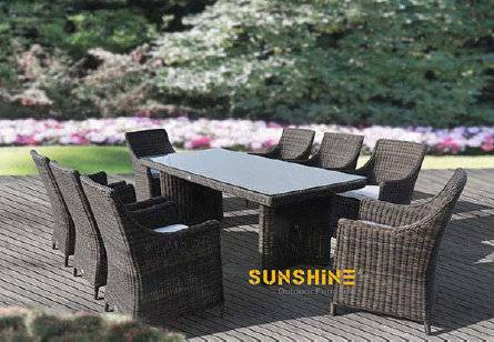 FCO-2504patio wicher round rattan dining set dining table and chair