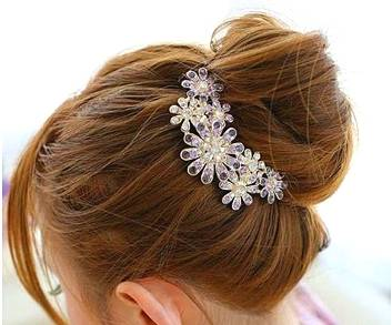 Beautiful jewelry flowers crystal alloy hair clips-for hair clip beauty tools
