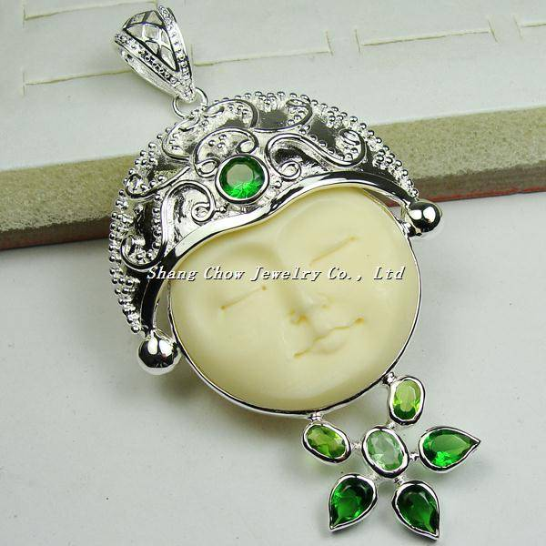 Peridot 925 Sterling Silver Carved bone Pendant
