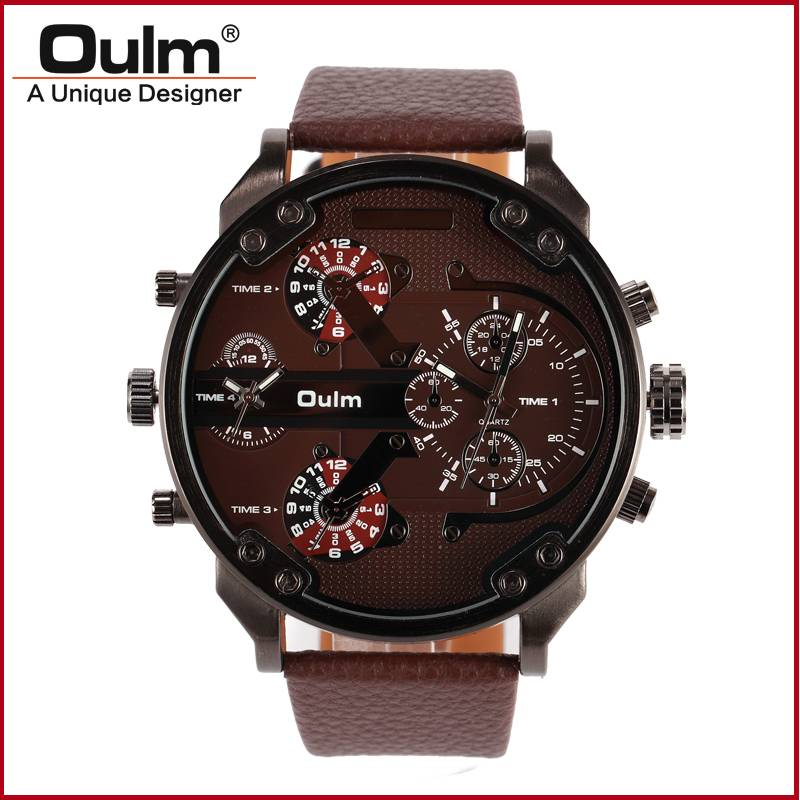 oulm brand men design big quartz PC21 watch