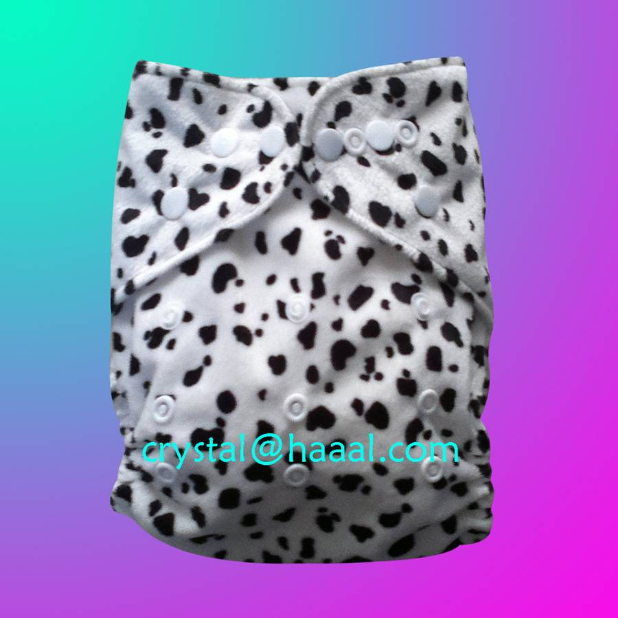 black dot printed minky cloth diaper nappy