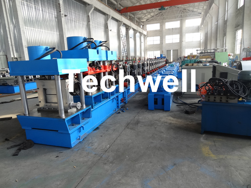 CZ Purlin Forming Machine With Pre-punching & Pre-cutting For Mesh Guards Covered