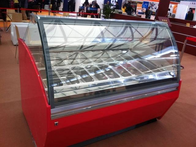 factory sell 1.8m Curved glass air cooling ice cream freezer cabinet/Italian Ice Cream Showcase/Pops