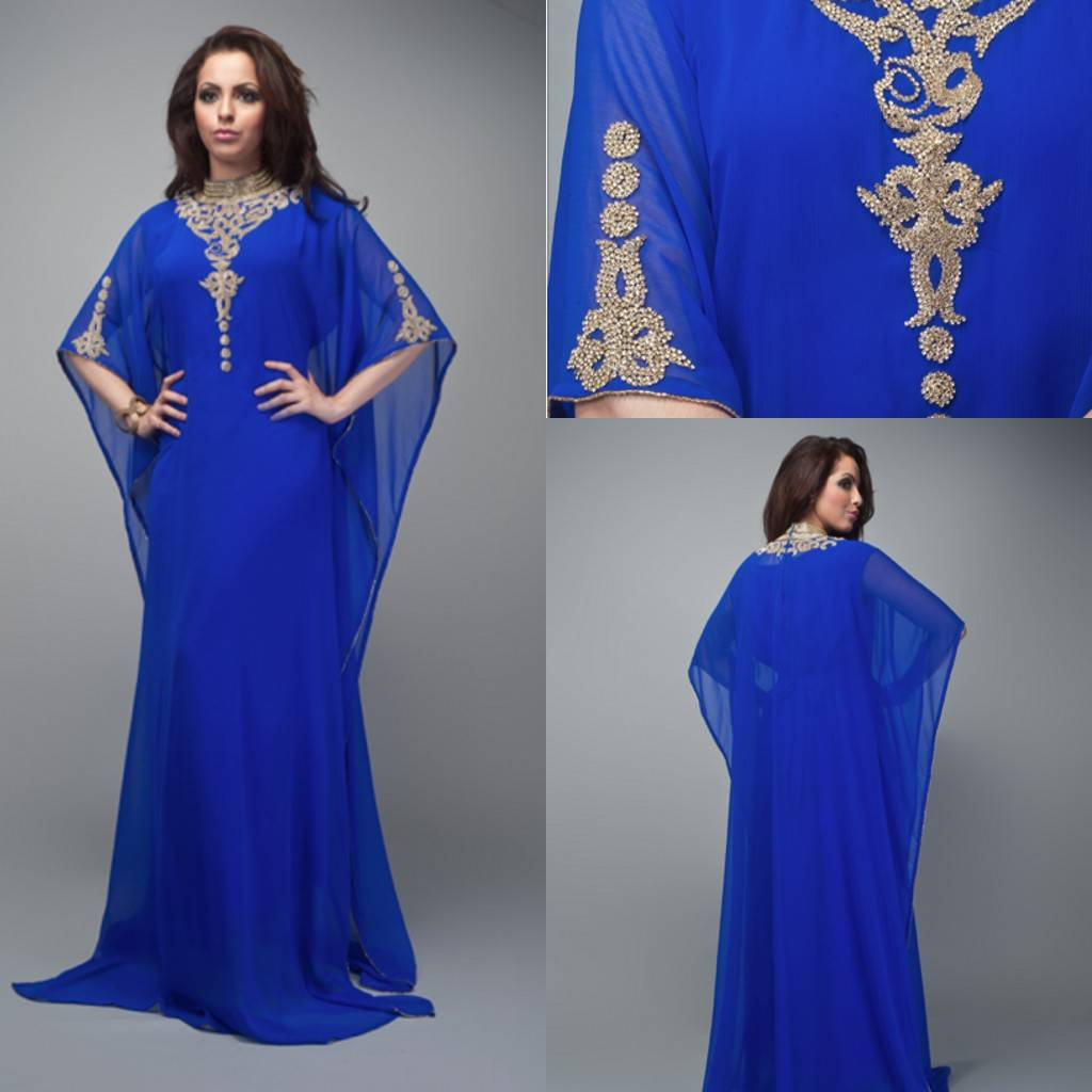 2014 New Arrival Royal Blue Chiffon A line Scoop Arabic Kaftan Dubai Half Sleeves Floor Length Long
