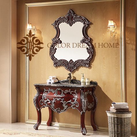 Homedee used bathroom vanity cabinets ,luxury western Wooden bathroom furniture
