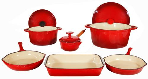 9-Piece Enamel Cast Iron Two Tone Red Cookware Set