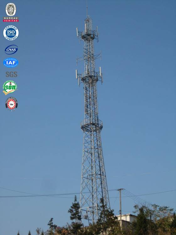 Four legged angular steel self-supporting communication tower