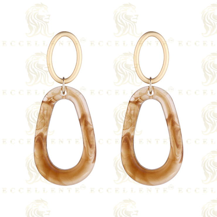 New Retro Exaggerated Oval Geometry Earrings Korean Style Dumb Gold S925 Silver Pin Earrings