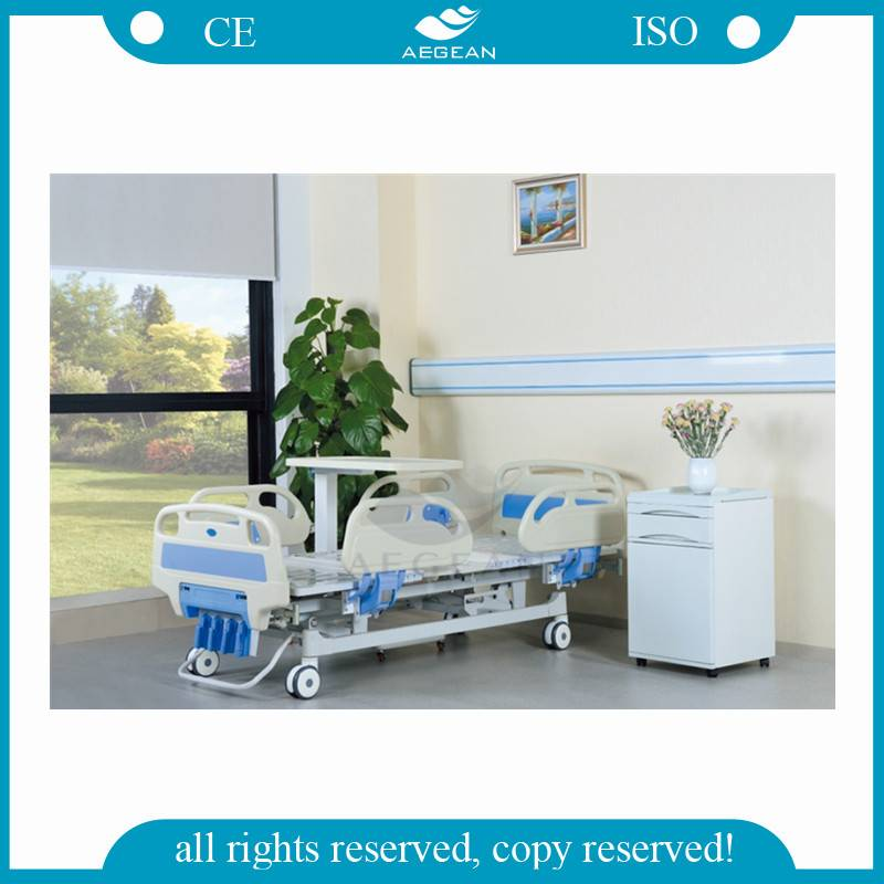 AG-BMS001C ABS Material Hospital Furniture Five Function Manual Crank Bed