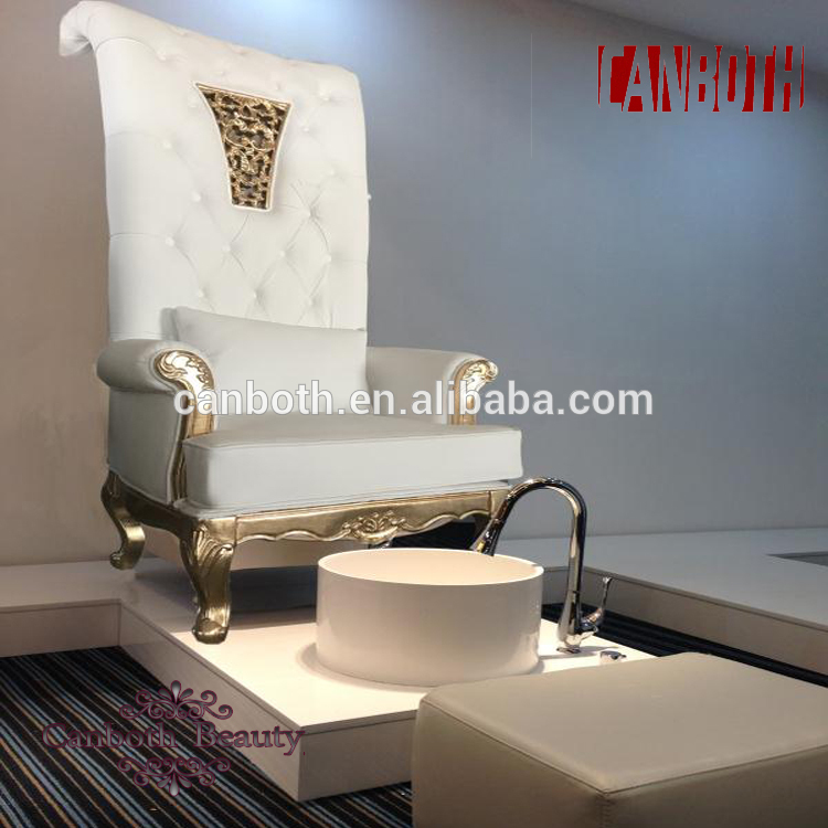canboth Foshan white luxury throne spa pedicure chair with glass bowlCB-FP007