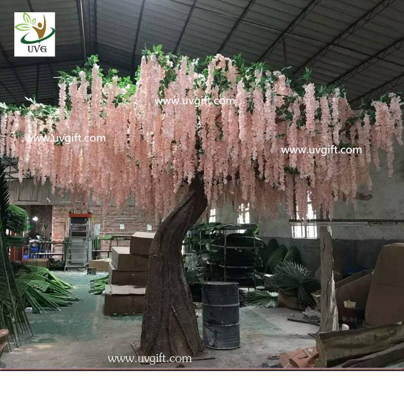 UVG WIS007 20ft large pink silk wisteria blossom fake trees for weddings