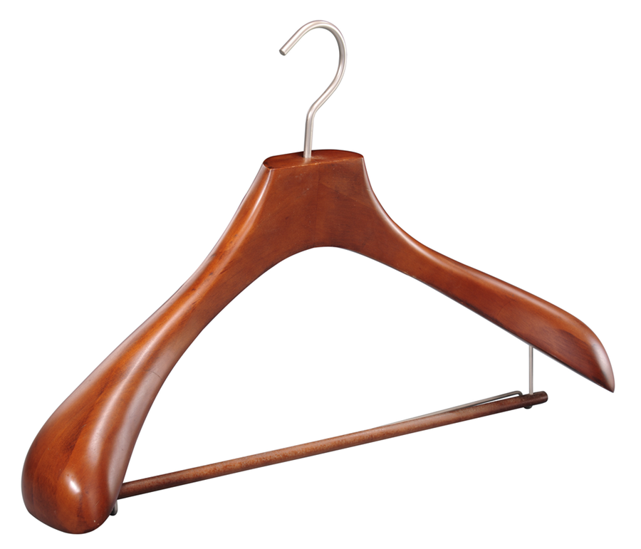 Contoured deluxe wooden clothes hanger with locking bar