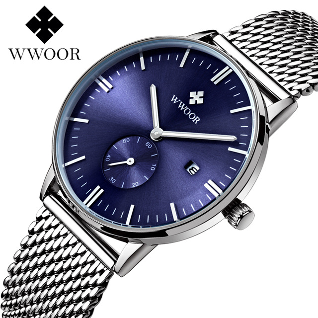 Latest fashion brief stainless steel brand watches with calendar mens waterproof watches