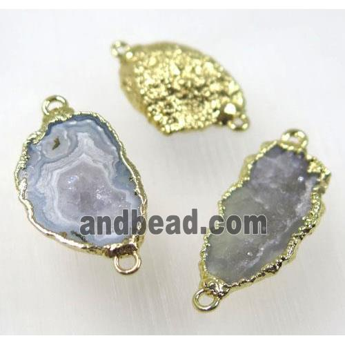 druzy agate geode connector, freeform, gold plated (GMPDA8325) approx 12-20mm
