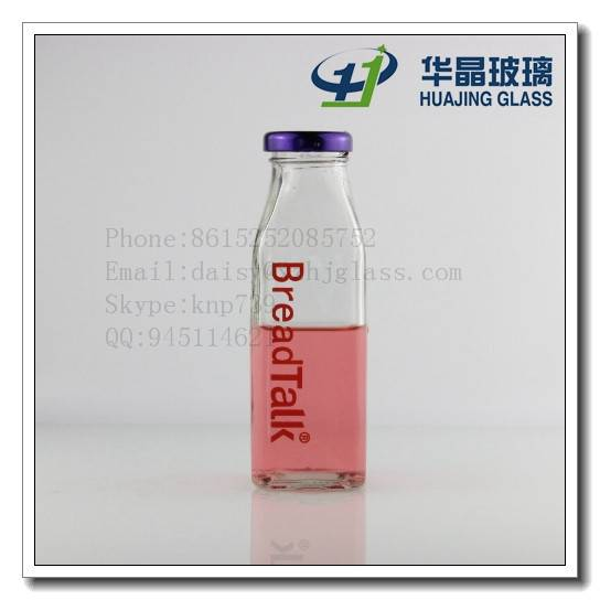 High quality clear empty customize 270ml rectangle juice glass bottle with metal lid wholesale