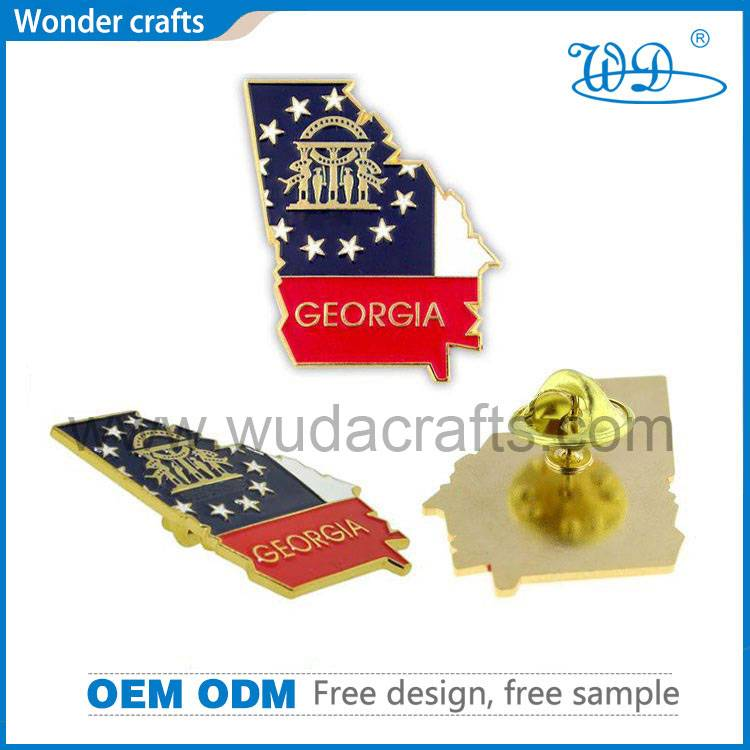 Eco-friendly punching brass material pure gold plated emblem badges with butterfly clutch