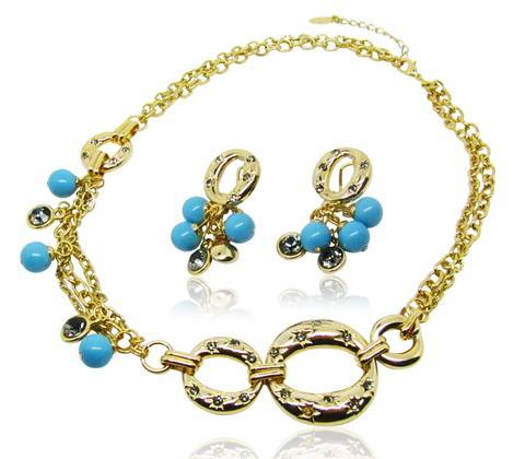Amazing cute style tear shape jewelry sets with grey pearl and bright stones