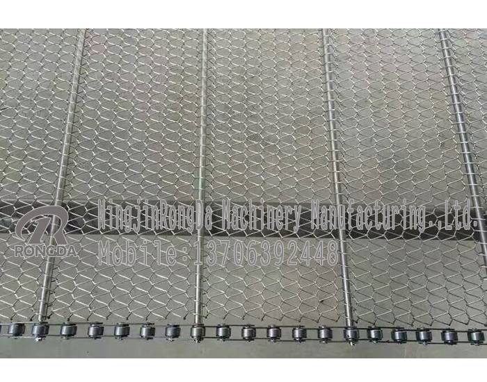 Chain mesh belt for cleaning and sterilizing vegetables