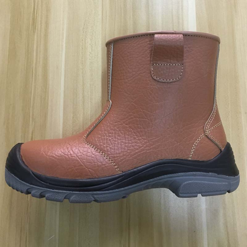 cheap price brown genuine leather PU sole safety boots