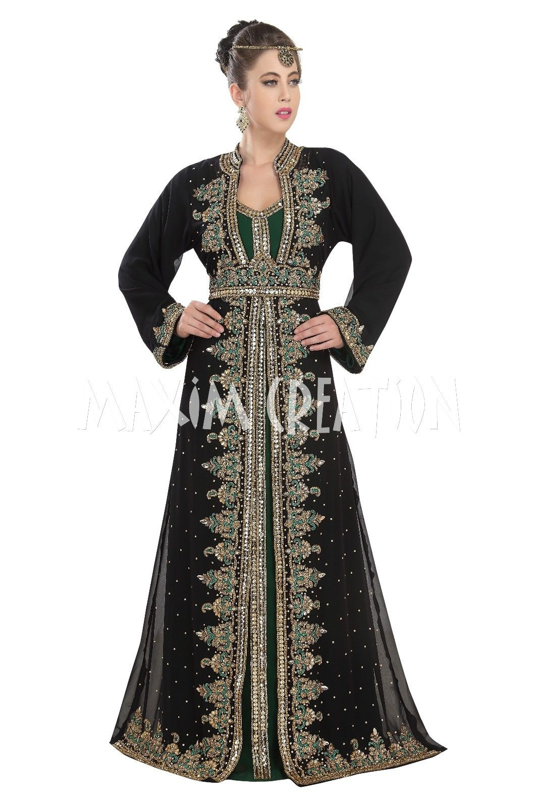 ROYAL MOROCCAN KAFTAN WEDDING GOWN WITH BLING EMBROIDERY FOR WOMEN ONLY