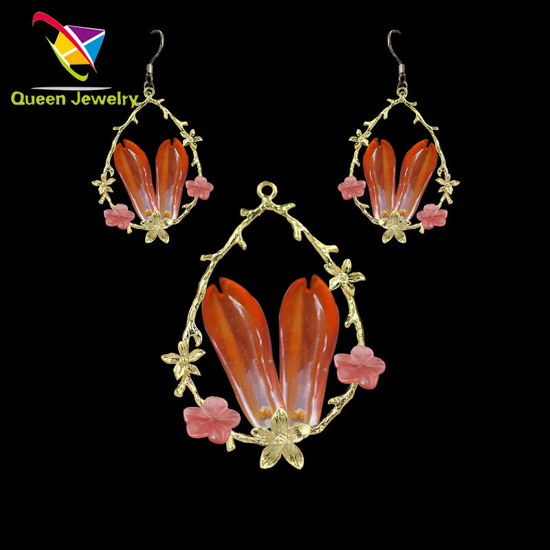 paparazzi jewelry Red gem petals pendant earring Inspiration comes from spring High-grade woman gift