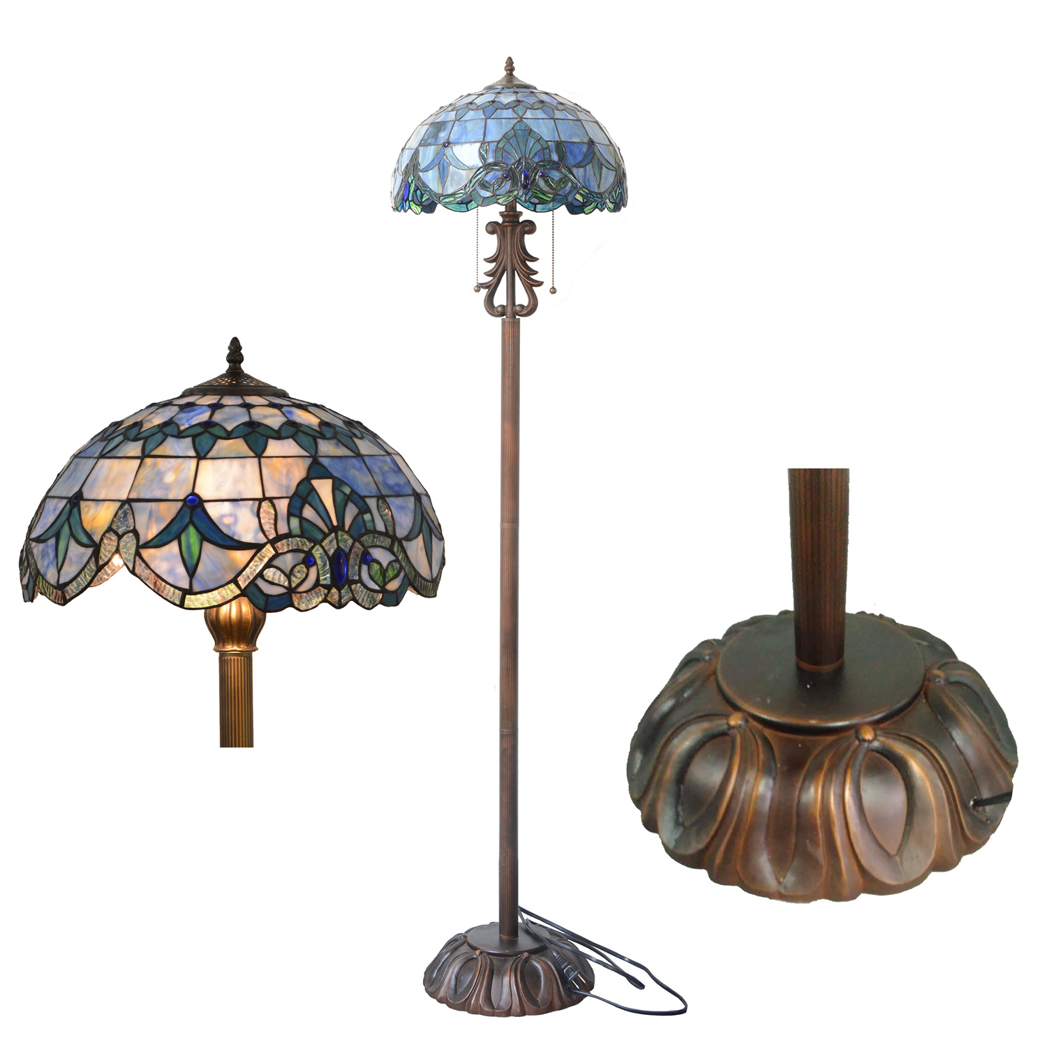 Tiffany style baroque floor lamp leaded stained glass floor light